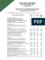 Goulden Reports Publications Q1 2010