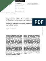 La Percepción Pública de Los Políticos, Los Partidos y La Política Uss de Los Medios de Comunicación,