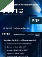 Prezentace Romana Kropáčka (RTIcz) na konferenci Radiokomunikace 2017