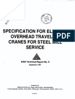AISE 6 (1991) - Specification for Electric Overhead Traveling Cranes for Steel Mill Service