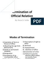 Termination of Official Relations