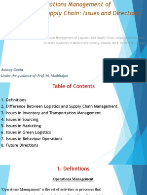 Operations Management of Logistics and Supply Chain: Issues and