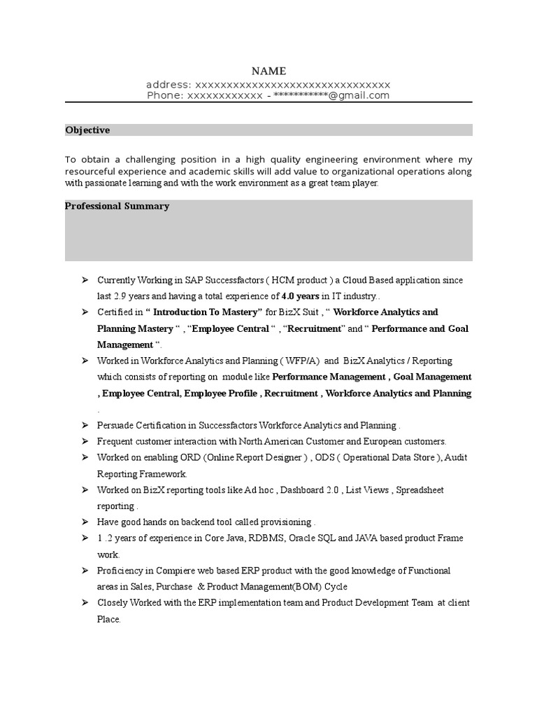 sap successfactors lms sample resume 2  enterprise