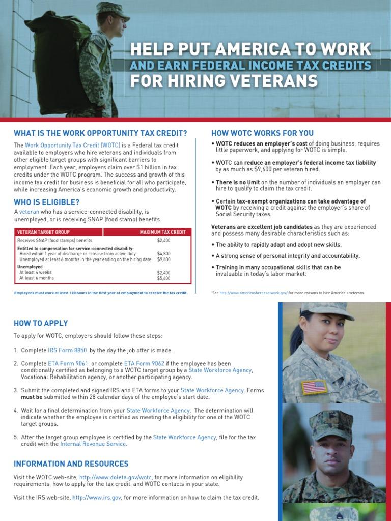Employers WOTC Veterans (Hire American!)   Tax Credit   Supplemental ...