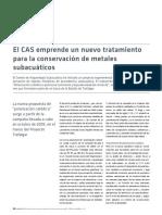 El CAS Emprende Un Nuevo Tratamiento Para La Conservación de Metales Subacuáticos