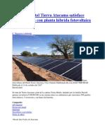 20171014 Hotel Tierra Atacama Satisface 100p Energia Con Planta Hibrida Fotovoltaica Diesel