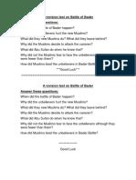 A Revision Test on Battle of Bader