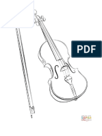 Violin and Bow Coloring Page