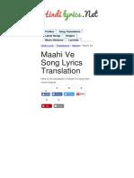 Maahi Ve Lyrics Translation Kaante