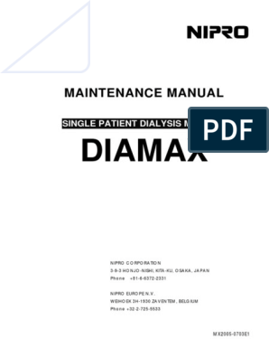 Nipro Diamax Dialysis Machine - Service manual pdf | Nature