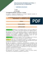 Ley 26571 de Democratizacion de La Representacion Politica