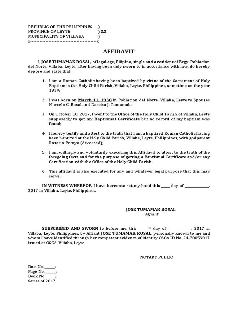 Affidavit Of Baptism No Record Docx