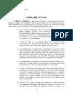 Affidavit of Loss Deed of Sale