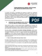 Consideraciones Sobre Sentencia Del Tribunal Constitucional Respecto Del Proyecto de Aborto (Rol Nº 3729)