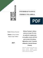 Defensa Nacional y defensa externa en el país