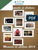 Memoria de Labores Con Portada Vice Despacho Cultura 2016