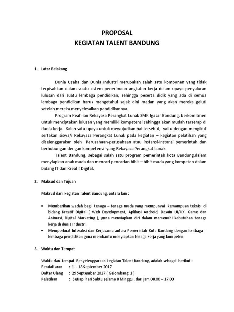 Proposal Talent Bandung