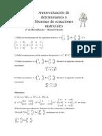 Autoevaluación MCS II de Determinantes y Sistemas de Ecuaciones Matriciales