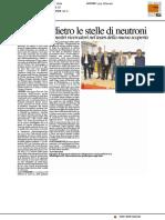 Urbino è dietro le stelle di neutroni - Il Resto del Carlino del 17 ottobre 2017