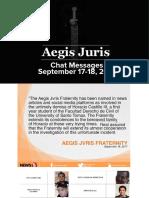 Aegis Juris chat messages read by Senator Joel Villanueva during the Public Order hearing