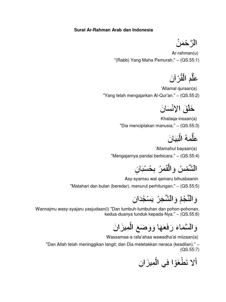 Surat Ar Rahman Lengkap Arab