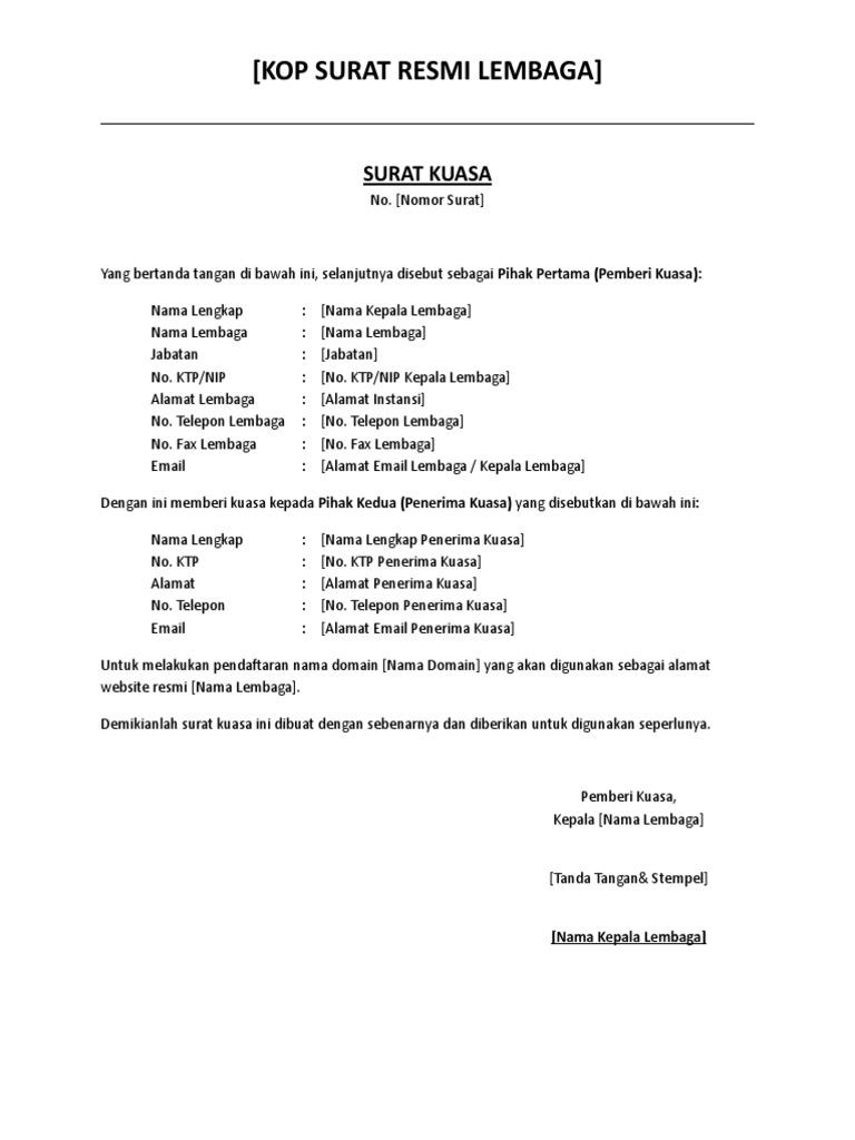 Contoh Surat Kuasa Dotid Doc