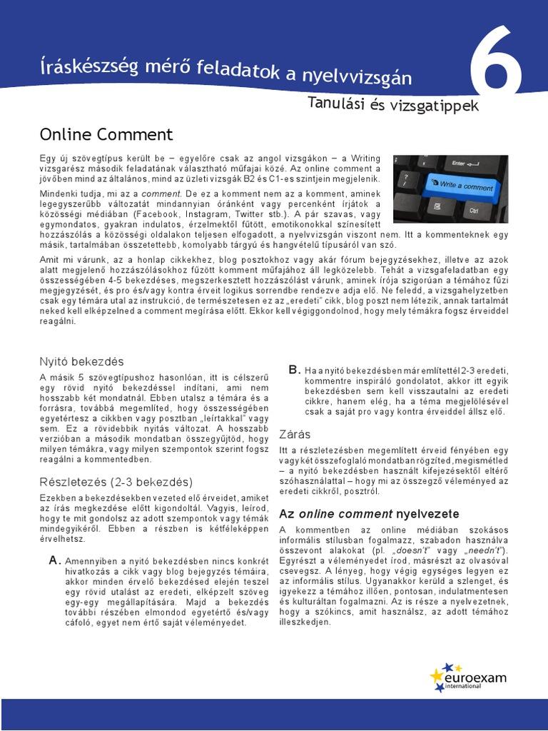 Vizsgatippek - Online Komment