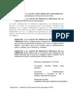 Derecho a La Salud de Personas Privadas de La Libertad T-126-15