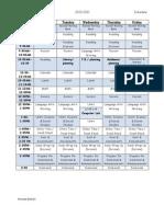 2010 -2011 Class Schedule