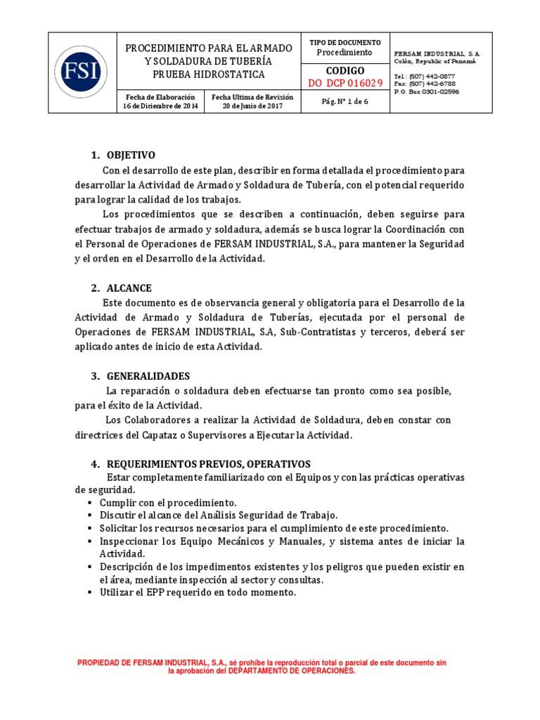 29 Procedimiento para el Armado y Soldadura de Tubería y Prueba ...