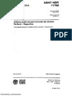 NBR 11768 (2011) - Aditivos Para Concreto de Cimento Portland Requisitos - (Em Vigor)