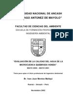 Evaluación de calidad de aguas de la microcuenca Quebrada Honda