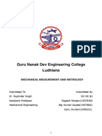 MECHANICAL MEASUREMENT AND METROLOGY
