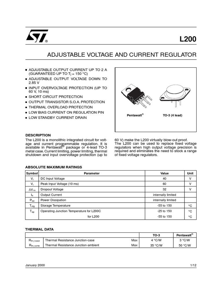 L200pdf Electric Current Electromagnetism Adjustable 3 Ampere Regulator