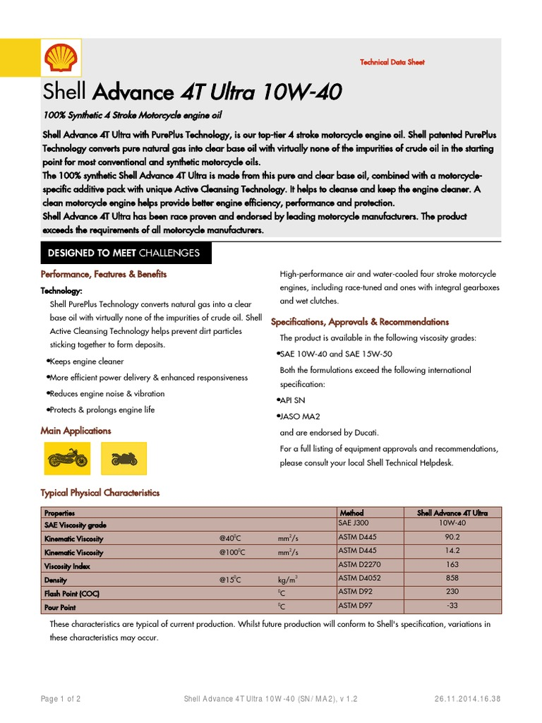 Shell Advance 4T Ultra 10W-40 | Motor Oil | Chemistry