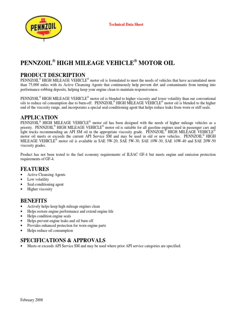 Pennzoil High Mileage Vehicle | Motor Oil | Fuel Economy In Automobiles