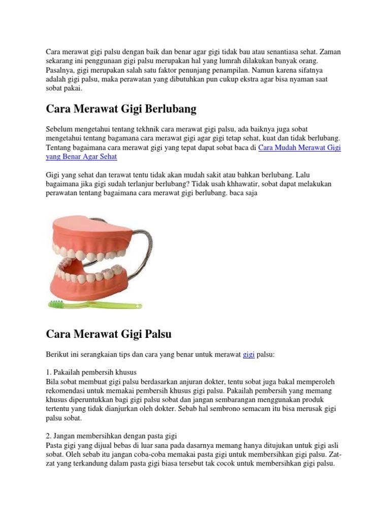 Cara Merawat Gigi Palsu Dengan Baik Dan Benar Agar Gigi Tidak Bau