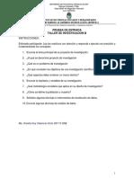 Prueba de Entrada Taller de Investigación III 2015 II Foy