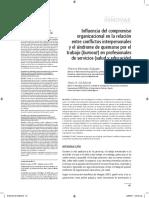 Influencia Del Compromiso Organizacional en La Relación Entre Conflictos Interpersonales y El Síndrome de Burnout en Profesionales de Servicios