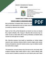 Taarifa Kwa Vyombo Ziara Ya Waziri Mkuchika TaGLA, PSRB Na DRA