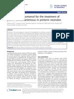 Efficacy of Paracetamol for the Treatment of Patent Ductus Arteriosus in Preterm Neonates
