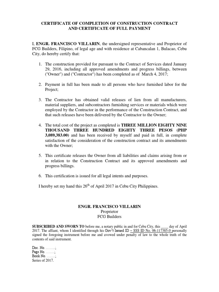 Certificate Of Pletion Of Construction Contract