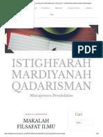 Makalah Filsafat Ilmu Aksiologi, Epistemologi, Ontologi – Istighfarah Mardiyanah Qadarisman