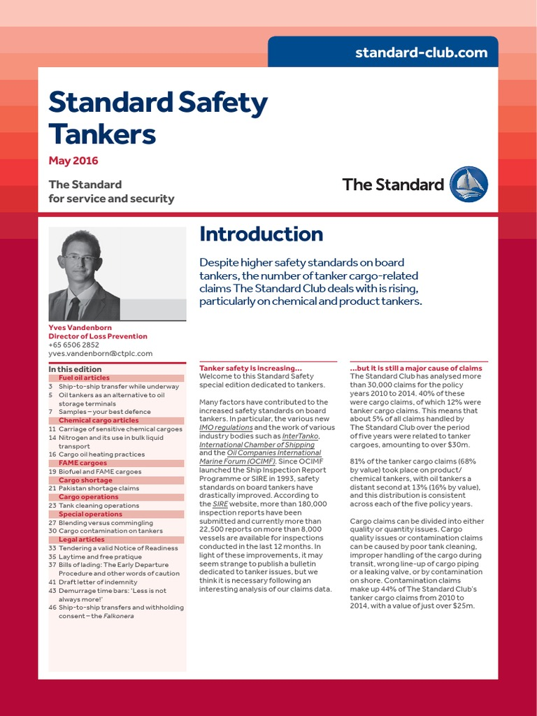 Standard Safety Tankers May 2016 Pdf Oil Tanker Ships