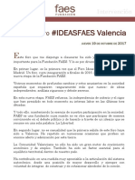 Intervención de José María Aznar sobre Catalunya en valencia
