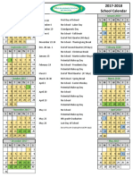 2017-2018 Resurrection School Calendar