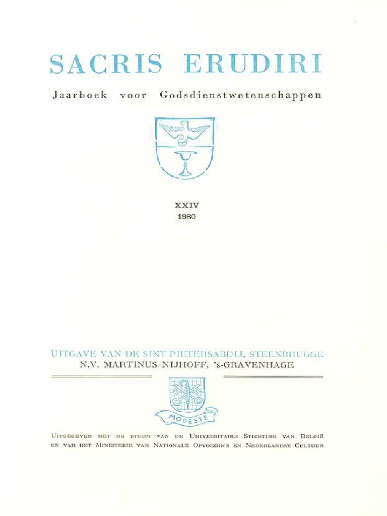 Sacris Erudiri Volume 24 1980pdf