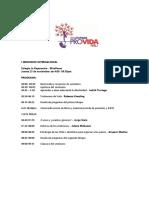 PROGRAMA Para El Seminario y Congreso Defiende La Vida Peru RJPP Nov 2017 Lima-Ica