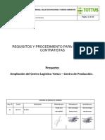 Requisitos y Procedimiento de Ingreso Contratista. . Rev 01