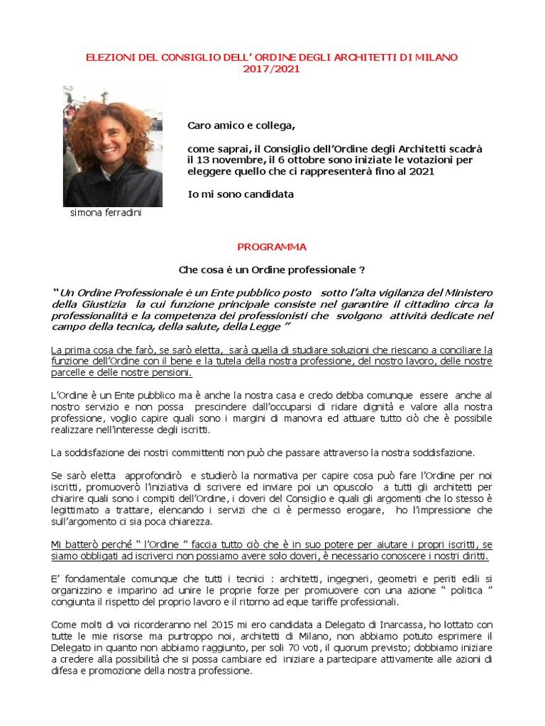 PROGRAMMA DI SIMONA FERRADINI PER LE ELEZIONI DEL CONSIGLIO DELL ...